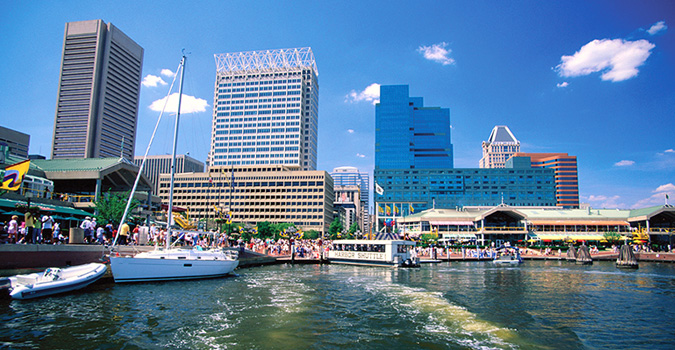 A view of the Inner Harbor in Baltimore City