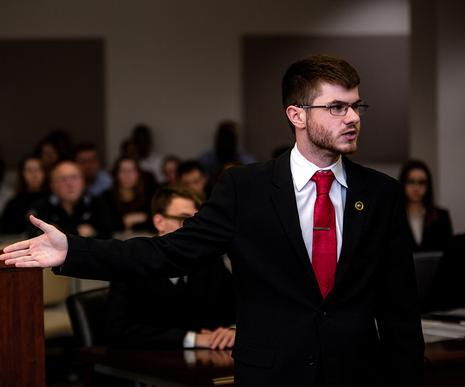 Mock Trial student makes his case